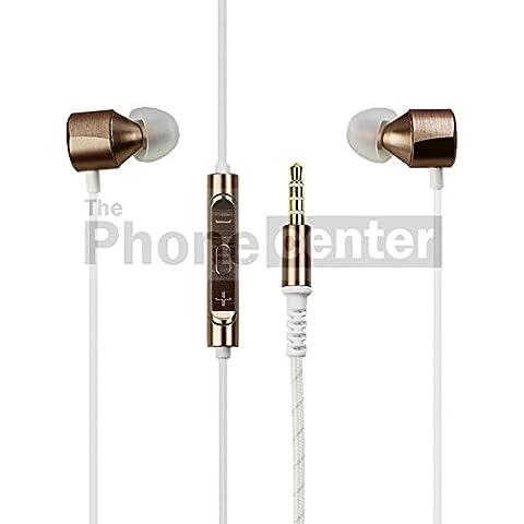TPC© Original Auriculares Manos Libres Headset in-ear LG Quadbeat 3 (HSS-F630) para LG Flex, 2, V10, G3, G4, G5, X, K8, K10, Stylus, Dorado ,