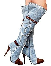 Best 4U Botas hasta la Rodilla de Mezclilla para Mujer Otoño Invierno  Elegantes 8CM Tacones Zapatos f4f690071a26