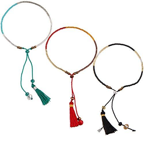 KELITCH Armband Frauen Mächen 3 Stück aus Rocailles Perlen Handmade Schnur Freundschaftsarmbänder mit Farbig Quaste Anhänger - Blaugrün/Rot/Schwarz