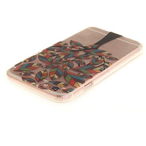 Etsue Silikon Schutz HandyHülle für iPhone 6S/iPhone 6 (4.7 Zoll) Blumen TPU Hülle, Niedlich Schöne Blume Muster Silikon Handytasche Ultradünnen Weiche Durchsichtig Handyhülle Soft Case Crystal Clear  Blatt Baum