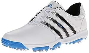 adidas Golf Men's Tour 360 X White/Core Black/Bahia Blue Sneaker 10 D - Medium