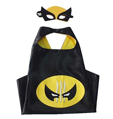 Kiddo Care Superheld Kostüme, Masken, Capes, Satin (Boys) (Wolverine)