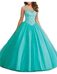 XUYUDITA Vestidos de Baile Tulle larga Perlas Sheer Neckline Quinceanera vestidos de baile 2017