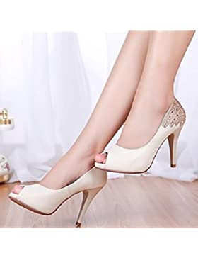 SDKIR-La primavera e l'estate punta pesce calzature donna, pelle impermeabile sandali di desktop, femmina ad alta...