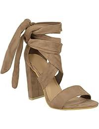 Sandales bout ouvert pour femmes lacets talon bloc soirée