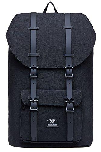 KAUKKO Laptop Rucksack für 17 Zoll Damen Herren Backpack Lässiger Schulrucksack Daypacks Stylish Rucksäcke Für Wanderreise Camping 21.57 Liters (Leinen Schwarz02)