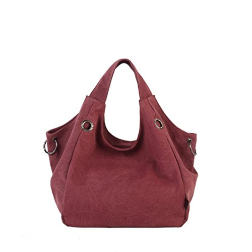 Transer Women Shoulder Bag Popular Girls Hand Bag Ladies Canvas Handbag, Borsa a spalla donna 32cm(L)*48H)*15cm(W), Red (Multicolore) - YLL60902521 Wine