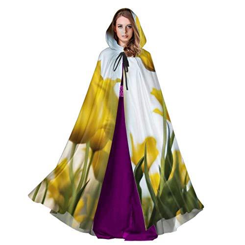 Rtosd Tulpen gelbe Blumen frühling floral Blossom Bloom Mantel Cape für Frauen Mantel Cape Dress 59 Zoll für Weihnachten Halloween Cosplay kostüme -