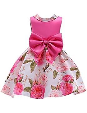 YuanDian Bambine Bambini Fiori Vestiti Stampa Filato Netto Senza Maniche  Bow-knot Compleanno Festa Principessa 549b91b8649