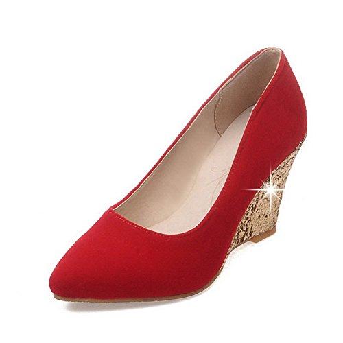 AgooLar Damen Rein Mattglasbirne Hoher Absatz Spitz Zehe Ziehen Auf Pumps Schuhe Rot