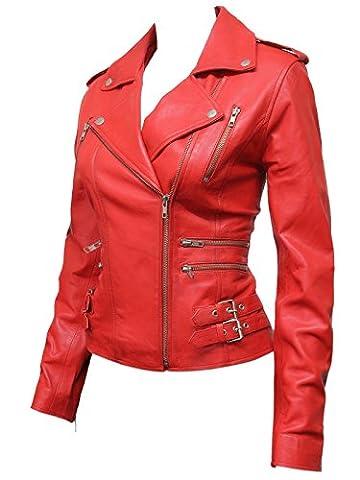 Brandslock Femmes Rouge Nouveau Biker Style Fashion Real Leather Biker Jacket (M/10, Rouge)
