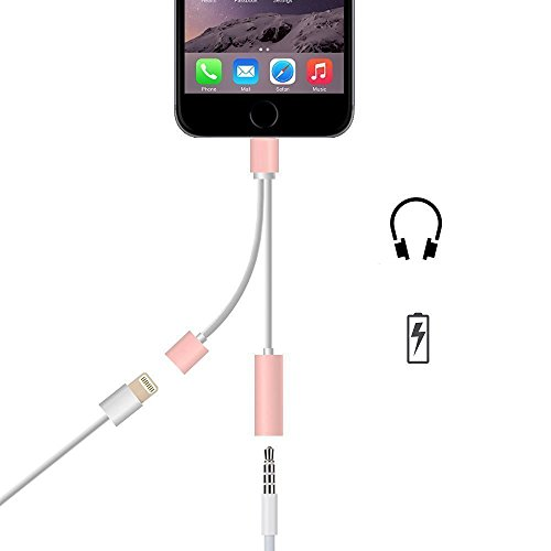 2 en 1 Adaptateur Lightning USB Câble Chargeur 3.5mm Jack Audio,TUOYA IPHONE 7 Port Lightning vers Jack 3,5 mm femelle audio casque câble adaptateur (Rose or)