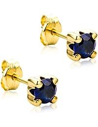 Orovi Ohrringe Damen Gelbgold 9 Karat/375 Gold Ohrstecker Solitär Saphir