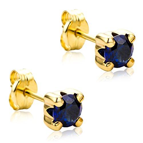 Orovi Orecchini Donna Solitario Piccoli a Lobo in Oro Giallo con Zaffiri Blu Oro 9 Kt / 375