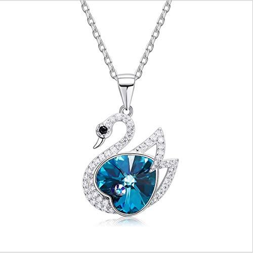 Baiduduozi collana per le donne cigno ciondolo con blu cristallo swarovski, di elegante portagioie per ogni momento speciale e argento, colore: color1, cod. ya7704