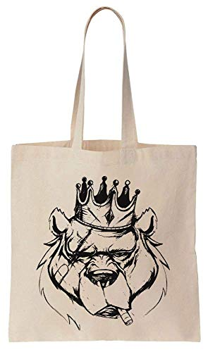 Smoker Bear King With A Crown Cotton Canvas Tote Bag