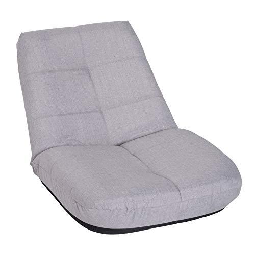 HOMCOM Bodenstuhl Bodensessel Sitzkissen gepolstert ohne Beine mit Lehne 5-stufig verstellbar Leinen Metallgestell Hellgrau 63 x T65 x 60 cm