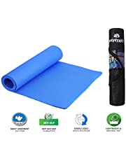 VIFITKIT® Yoga Mat Anti Skid EVA Yoga mat with Bag for Gym Workout and Flooring Exercise Long Size Yoga Mat for Men and Women (Color - Blue)