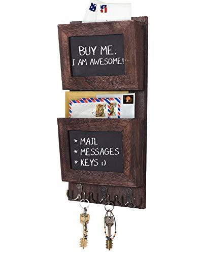 Comfify Rustikaler 2-Fach-Postsortierer für die Wand mit Kreidetafelfläche & 3 Doppel-Schlüsselhaken - Wandhalterung aus Holz - Wanddekor für den Eingangsbereich aus Paulownia-Holz - Braun