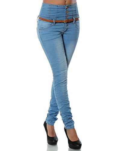 Damen Jeans Hose Skinny (Hochschnitt Röhre Gürtel) No 14251, Farbe:Blau;Größe:40 / L