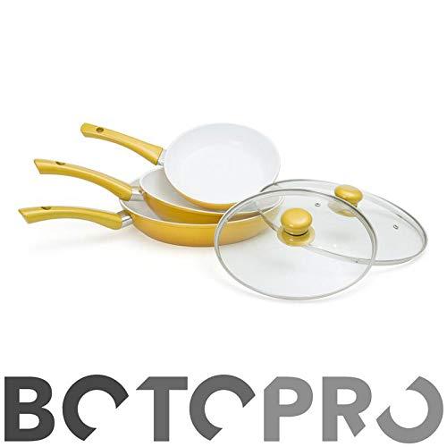 BOTOPRO - Sartenes CerafitGold Fusion, Juego de 3 sartenes + 2 Tapas de Regalo. Antiadherentes y Resistentes - Anunciado en TV