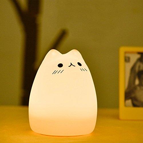 OOFAY LED Silikon Buntes Nachtlicht Katze Clever Sensor Kreativ Kinder Warmes Licht Tischlampe Urlaubsgeschenk (Drei Stile),C