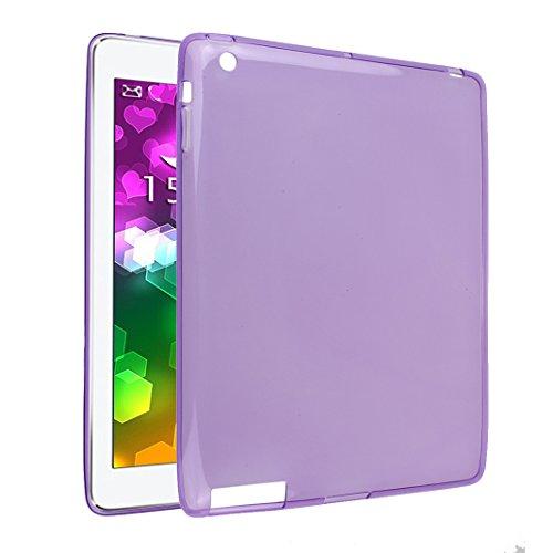 iPad 2 Silkon Hülle, Asnlove TPU Schutzhülle Tasche Case Cover Kratzfest Weich Flexibel Silikon Bumper in Matt Crystal Transparent Tablet Schutzhülle für Apple iPad 2 / 3 / 4, Lila