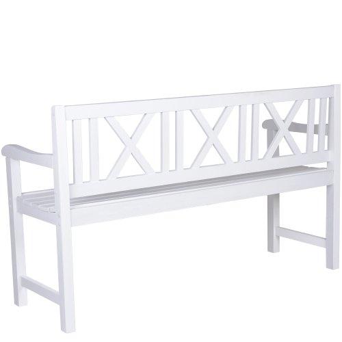 Miadomodo–Gartenbank weiß aus Fichtenholz - 2