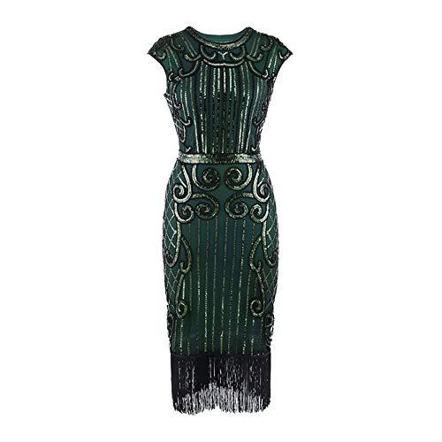 Zolimx 20er Jahre Vintage Frauen Quaste Pailletten Jugendstil verziert Fransen Flapper Kleid - 20 S Flapper Kleid