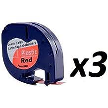 3x Compatible Cintas de 12mm para uso en Impresoras Dymo LetraTag. Negro sobre Rojo Plástico serie–91203