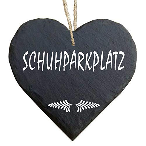 Homeyourself Herz Schieferherz Schiefer Schieferschild 10 x 10 cm Schuhparkplatz schwarz Dekoschild Wandschild Schild Stein Schuhschrank