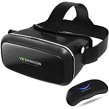 """Casque VR, lunette 3D VR, casque de réalité virtuelle avec contrôleur à distance, Toprime version améliorée et beaucoup plus légère lunettes de réalité virtuelle pour smartphone 4,5""""- 6,0"""" (noir)"""