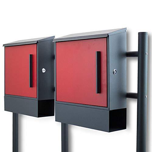 BITUXX® Freistehender Doppelstandbriefkasten Briefkastenanlage Seitenschloss und Zeitungsfach unten Dunkelgrau/Rot