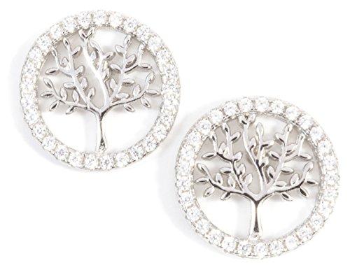 Happiness Boutique Damen Baum des Lebens Ohrringe in Silberfarbe | Runde Ohrstecker Sterling Silber Strasssteine und Lebensbaum Design