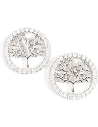 Happiness Boutique Damas Pendientes Árbol de la Vida de Plata de Ley | Pendientes de Botón Redondos con Diamantes de Imitación