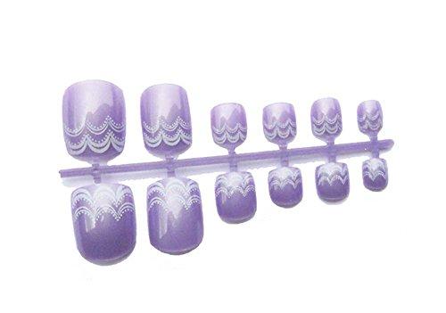 2 boîtes de bricolage Conçu Faux ongles d'orteils / clous,Mauve