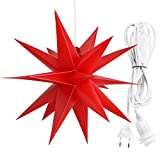 Roter Faltstern Adventsstern Weihnachtsstern mit 18 Zacken Stern 3D Kunststoff Ø 60cm Fensterstern mit 350cm Kabel mit E14 Fassung (Rot Klassisch ohne Lampe)