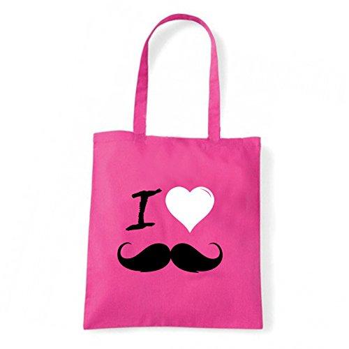 Art T-shirt, Borsa Shoulder I Love Mustache, Shopper, Mare Fucsia