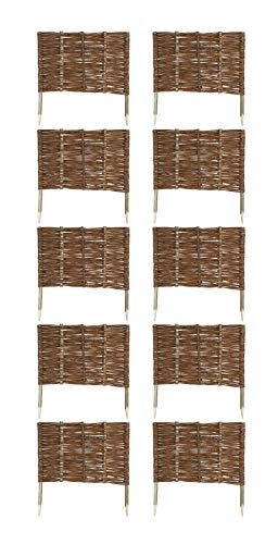 MC.Sammler 10 x Beeteinfassung aus Weide 16 Größen Weidenzaun Rasenkante Beetbegrenzung Steckzaun imprägniert mit Buchepflöcken für leichtes Einsetzen Länge: 60 cm Höhe: 40 cm