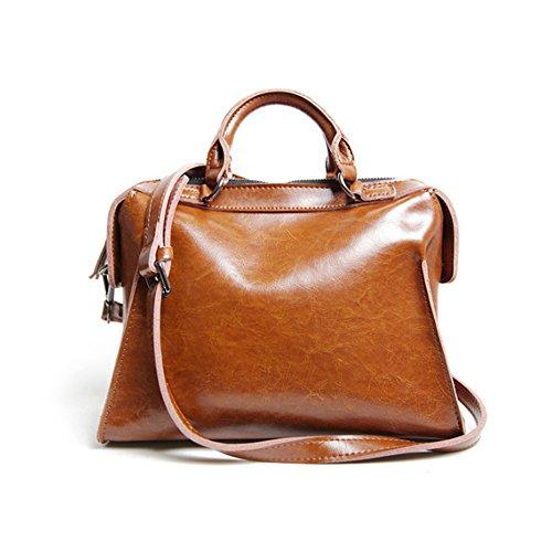 Leathario Borsa donna pelle vera tracolla rosa spalla a mano eleganti lavoro vintage cuoio fashion borsone sacca shopping weekend marrone
