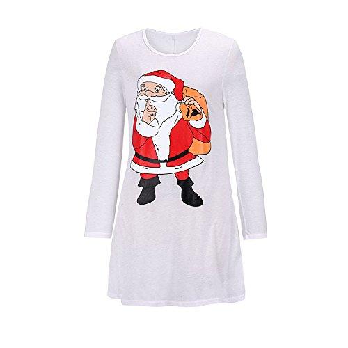 SHOBDW Herbst Winter Damen Mode Langarm Exquisit Elegant Weihnachtsmann Drucken O Ausschnitt beiläufige Lang Sweatshirt Knielanges Kleid Minikleid Kurz Röcke Abendkleid