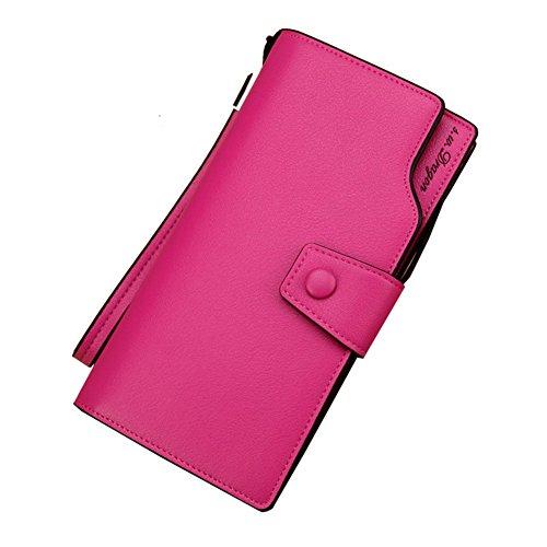 Wewod.Genuine koreanische Version der großen Kapazität Tasche Damen Geldbörse Multi-Mobilfunkkarte etwas Farbe Reißverschluss Tasche Schnalle Handtaschen Rose Red