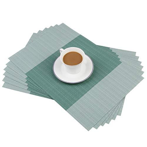 Homcomoda Platzsets Anti-Rutsch Tischset Abwaschbar Tischmatte Vinyl Platzdeckchen für Den Esstisch 6er Set 30 x 45 cm (Blaugrün)