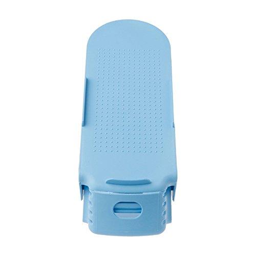 Kofun Scarpe Slot Organizer, 2 pacchi Scarpe Organizer Display Home Salvaspazio in plastica Portapacchi Doppio strato regolabile Scarpe Appendiabiti Blu Blu