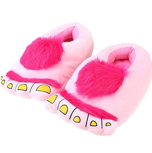 LANFIRE Pelz Monster Abenteuer Hausschuhe, komfortable Neuheit warme Winter große Füße Hausschuhe Erwachsene (Pink)