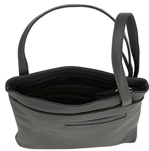 Felda - borsa a tracolla da donna - vera pelle - con sacchetto antipolvere - color carne grigio