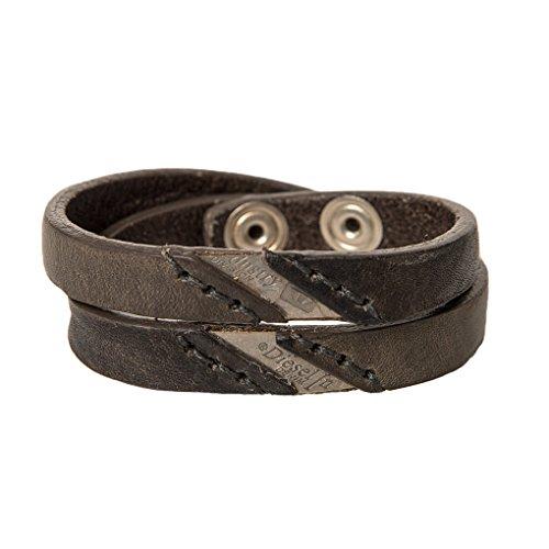 DIESEL Herren Armband, Echt Leder, Knopfverschluss, Doppelschnalle, ALINE BRACELET - Braun