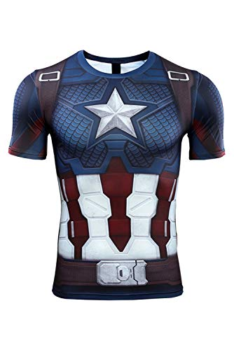 MingoTor Herren Superheld Avengers: Endgame Captain America Fish Scales Kurzarm Bedrucktes T-Shirt Hemd Cosplay Kostüm Blau (Captain America 2-halloween-kostüm)