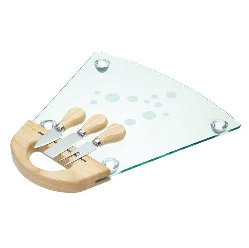 Kitchen Craft - Tabla de cristal para queso (con 3 utensilios)