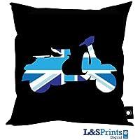 VESPA SCOOTER BLUE UNION JACK DESIGN CUSHION 18 X IDEAL GIFT NOVELTY MADE